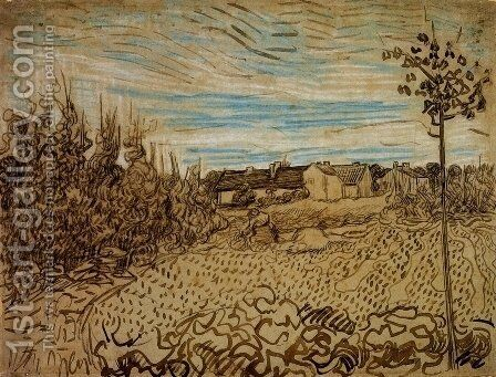 Cottages with a Woman Working in the Foreground by Vincent Van Gogh - Reproduction Oil Painting
