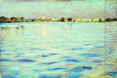 The last rays of the sun. A lake. by Isaak Ilyich Levitan - Reproduction Oil Painting