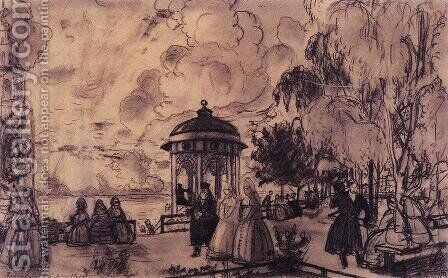 Public garden on the bank of the Volga (festivities on the banks of the Volga) by Boris Kustodiev - Reproduction Oil Painting