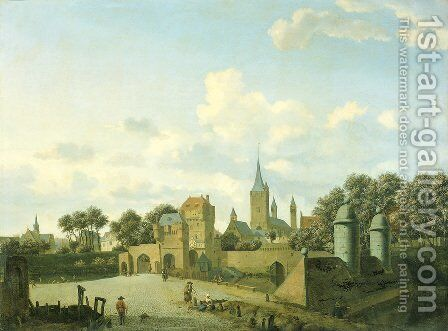 The church of St. Severin in Cologne in a fictive setting by Adriaen Van De Velde - Reproduction Oil Painting