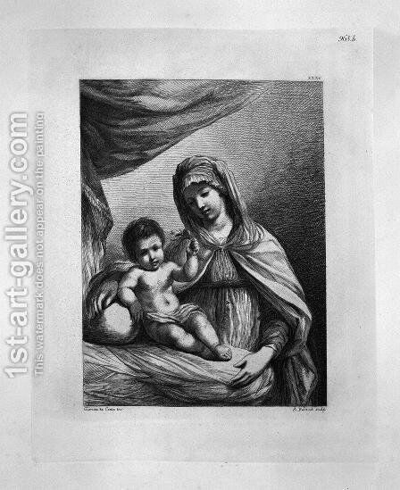 The Virgin standing, half-length, with the Child Jesus holding a flower, by Guercino by Giovanni Battista Piranesi - Reproduction Oil Painting
