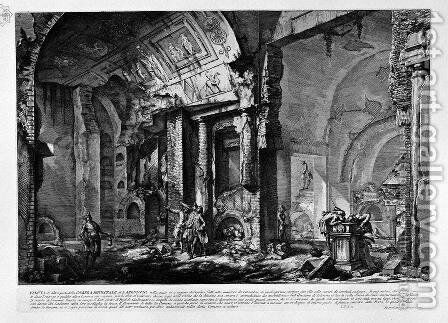 The Roman antiquities, t. 2, Plate X. View of the entrance of the burial chamber of L. Arrunzio and his Family by Giovanni Battista Piranesi - Reproduction Oil Painting