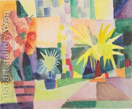 Garden on Lake Thun by August Macke - Reproduction Oil Painting