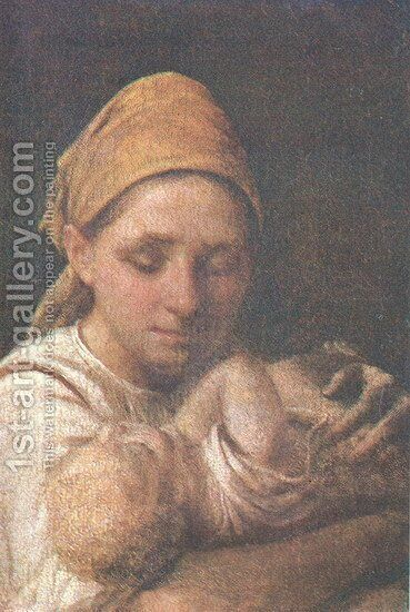 A Peasant Woman with a Child by Aleksei Gavrilovich Venetsianov - Reproduction Oil Painting