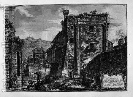 Ruins of the Temple of Castor and Pollux in the city of Cori by Giovanni Battista Piranesi - Reproduction Oil Painting