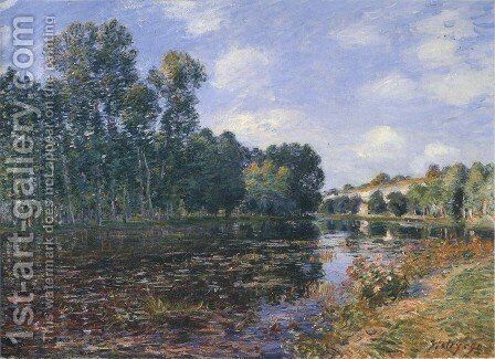 Bend in the River Loing in Summer by Alfred Sisley - Reproduction Oil Painting