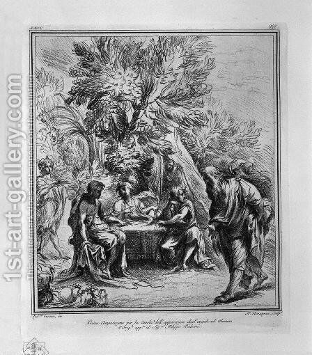 Apparition of the Angels to Abraham, from L Carracci by Giovanni Battista Piranesi - Reproduction Oil Painting