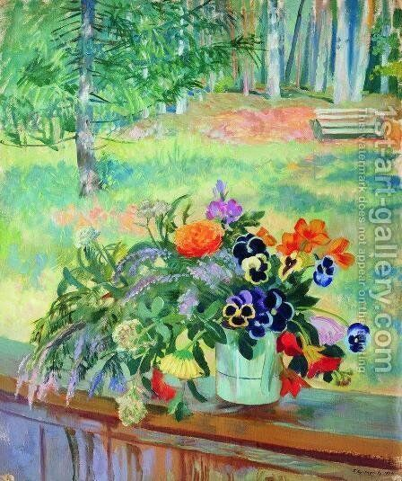 A Bouquet of Flowers on the Balcony by Boris Kustodiev - Reproduction Oil Painting