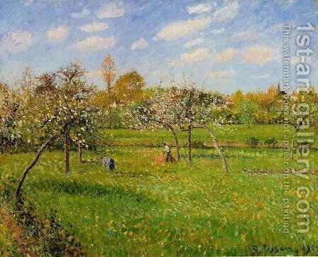 Spring Morning, Cloudy, Eragny by Camille Pissarro - Reproduction Oil Painting