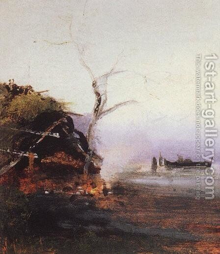 Bonfire of the river by Alexei Kondratyevich Savrasov - Reproduction Oil Painting
