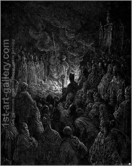 Barthelemi undergoing the Ordeal of Fire by Gustave Dore - Reproduction Oil Painting