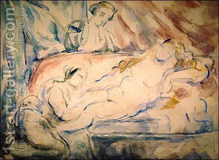 Nude Female with Attendants by Paul Cezanne - Reproduction Oil Painting
