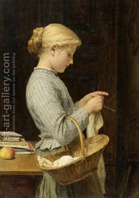 Strickendes Madchen 2 by Albert Anker - Reproduction Oil Painting