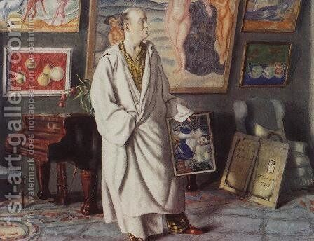 Portrait of F.F. Notgaft (Collector) by Boris Kustodiev - Reproduction Oil Painting