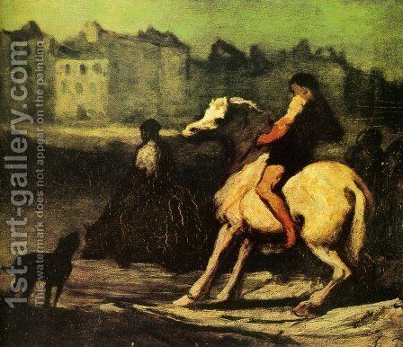 The Feeding Trough by Honoré Daumier - Reproduction Oil Painting