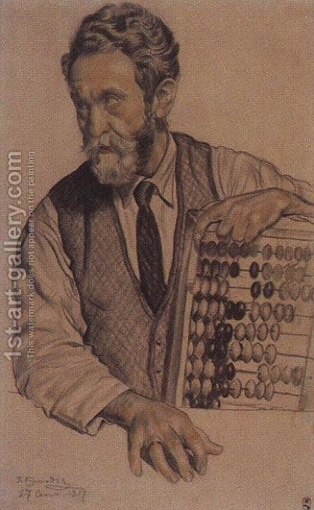 Man with accounts (V.A. Kastalsky) by Boris Kustodiev - Reproduction Oil Painting