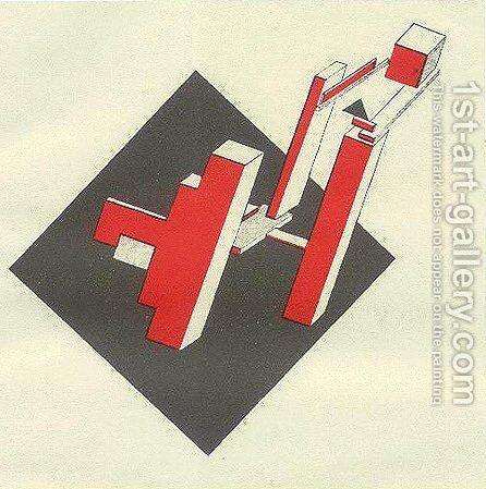 Insert the red and clear on black by Eliezer (El) Markowich Lissitzky - Reproduction Oil Painting