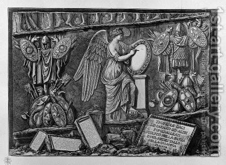 Trophies of the Dacians, Sarmatians and other peoples of the allies in the band and carved into the pedestal of Trajan column by Giovanni Battista Piranesi - Reproduction Oil Painting