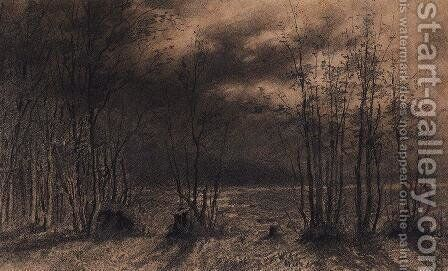 Autumn night by Alexei Kondratyevich Savrasov - Reproduction Oil Painting