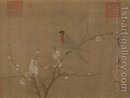 Five-colored parakeet on a blossoming apricot tree by Huizong Emperor - Reproduction Oil Painting