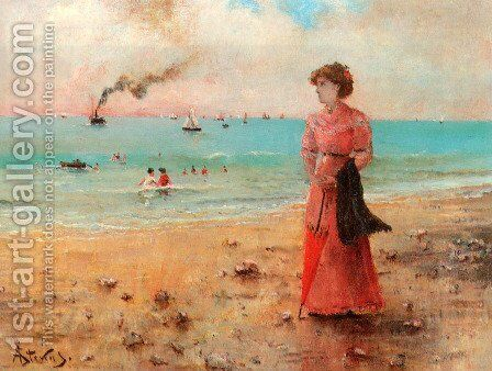 Young woman with the red umbrella by the sea by Alfred Stevens - Reproduction Oil Painting