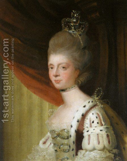 Portrait of Queen Charlotte by Sir Joshua Reynolds - Reproduction Oil Painting