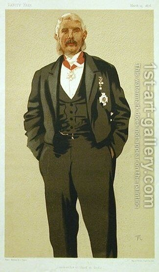 Caricature of General Sir Frederick Paul Haines by James Jacques Joseph Tissot - Reproduction Oil Painting