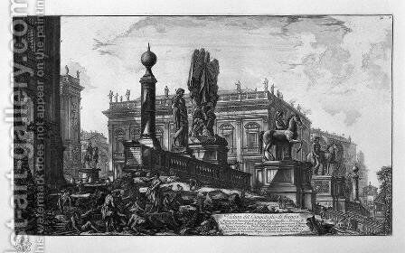 View of the Capitol by Giovanni Battista Piranesi - Reproduction Oil Painting