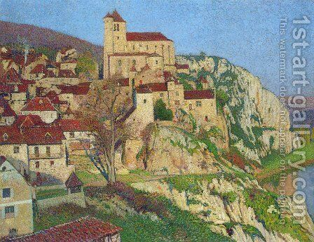 Cliff with Houses by Henri Martin - Reproduction Oil Painting
