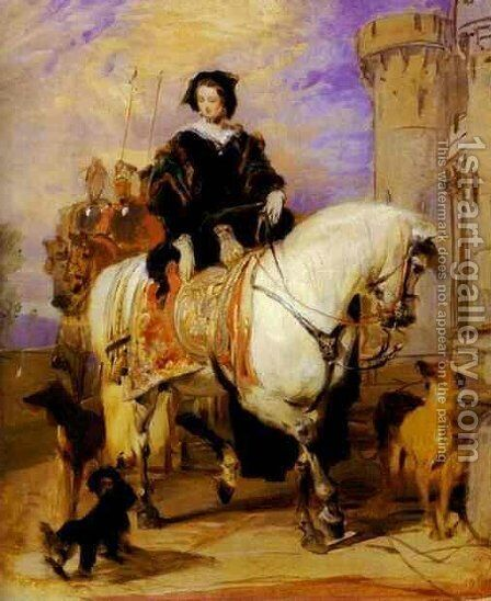 Queen Victoria on Horseback by Sir Edwin Henry Landseer - Reproduction Oil Painting