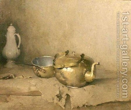 Brass Kettle with Porcelain Coffee Pot by Emil Carlsen - Reproduction Oil Painting