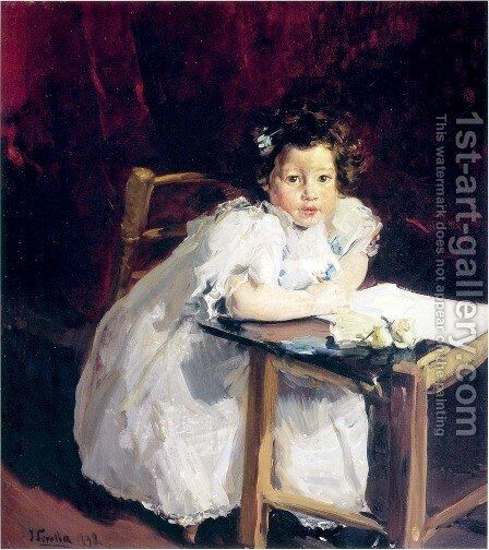 Elena at her desk by Joaquin Sorolla y Bastida - Reproduction Oil Painting