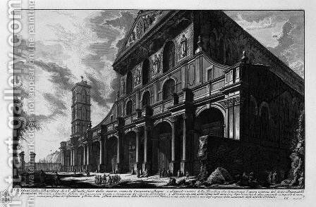Exterior view of the great Basilica of St. Peter in the Vatican by Giovanni Battista Piranesi - Reproduction Oil Painting
