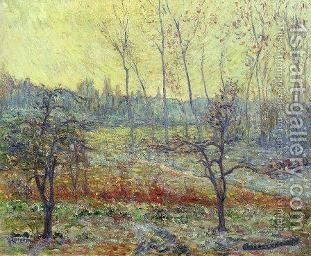 Landscape in Winter with Fog by Gustave Loiseau - Reproduction Oil Painting