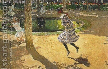 Skipping rope at La Granja by Joaquin Sorolla y Bastida - Reproduction Oil Painting