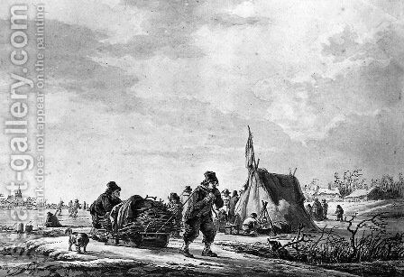 Winterview of men with sledge by Jacob van Strij - Reproduction Oil Painting
