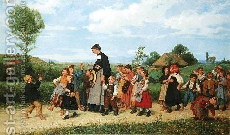 Der Schulspaziergang by Albert Anker - Reproduction Oil Painting