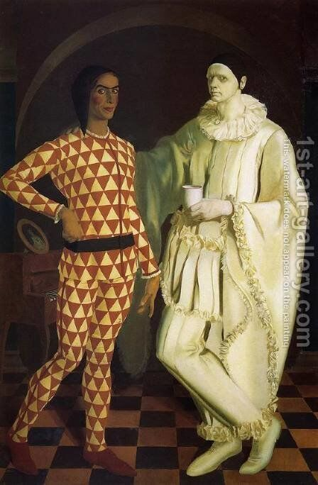 Self-Portraits (Harlequin and Pierrot) - with Vasiliy Shukhaev by Alexandre Jacovleff - Reproduction Oil Painting