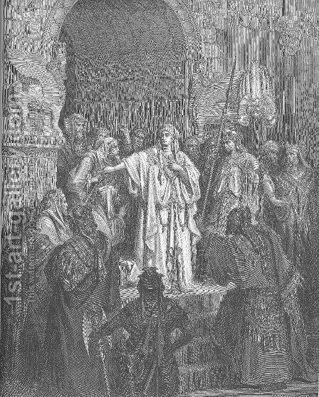 Queen Vashti Refuses to Obey Ahasuerus' Command by Gustave Dore - Reproduction Oil Painting