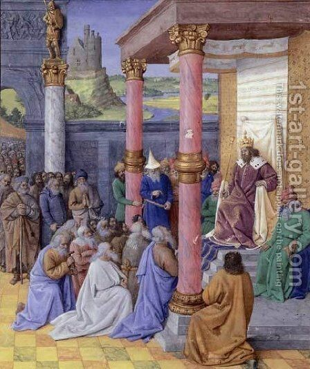Emperor Cyrus the Great of Persia, who permitted the Hebrews to return to the Holy Land and rebuild God by Jean Fouquet - Reproduction Oil Painting