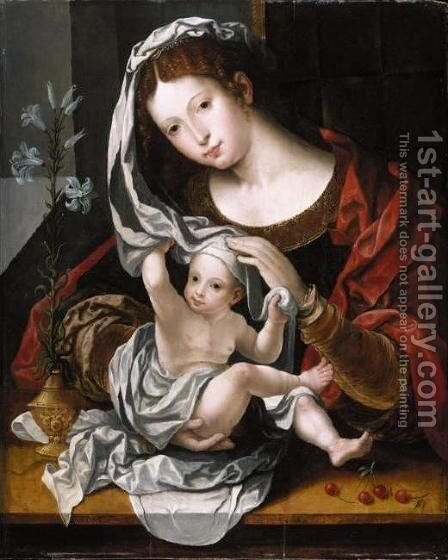 Madonna and Child playing with the veil 2 by Jan (Mabuse) Gossaert - Reproduction Oil Painting