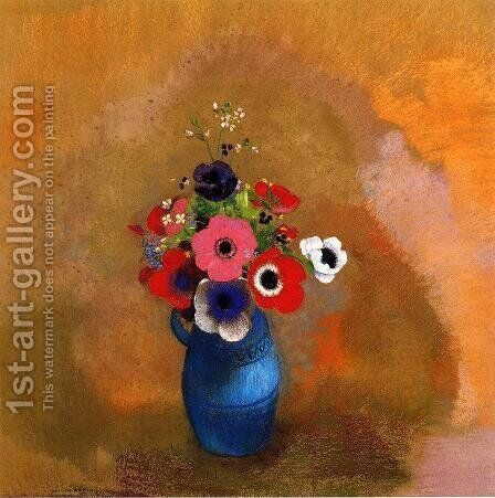 Bouquet of anemones by Odilon Redon - Reproduction Oil Painting