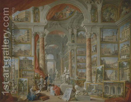 Picture Gallery with Views of Modern Rome by Giovanni Paolo Panini - Reproduction Oil Painting