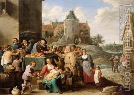 The Works of Mercy by David The Younger Teniers - Reproduction Oil Painting