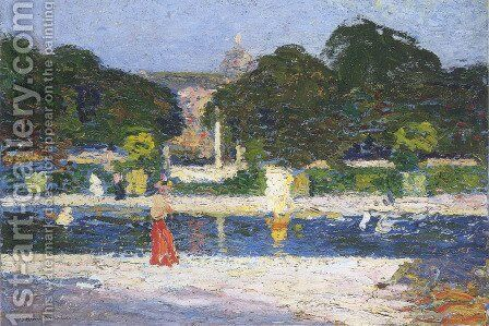 Fountain in the garden at Luxembourg by Henri Martin - Reproduction Oil Painting