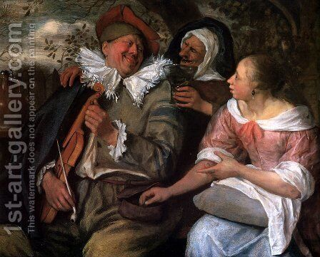 Robbed violin player by Jan Steen - Reproduction Oil Painting