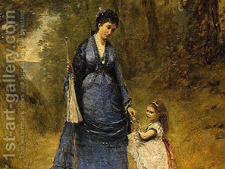 Madame Stumpf and Her Daughter by Jean-Baptiste-Camille Corot - Reproduction Oil Painting