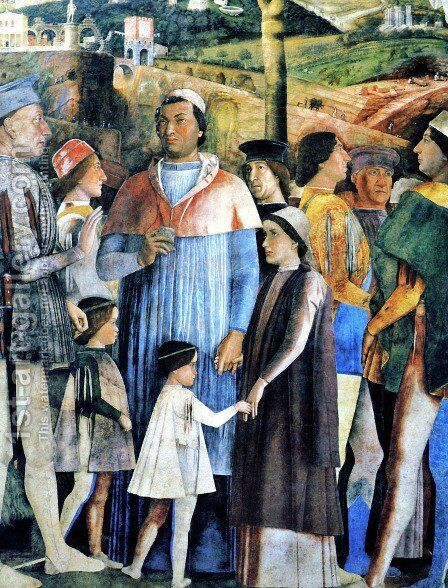 The House of Ludovico Gonzaga Bridegroom decorated wall and his son by Andrea Mantegna - Reproduction Oil Painting