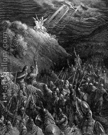 Apparition of St. George on the Mount of Olives_GustaveDore_sqs__crusades_george_mt_olives__xyz32728.gif by Gustave Dore - Reproduction Oil Painting