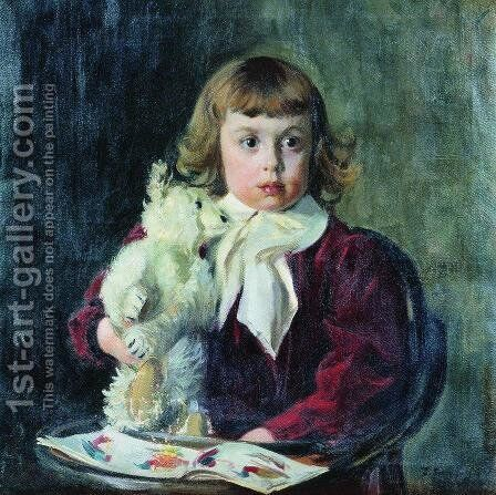 Boy with teddy bear by Boris Kustodiev - Reproduction Oil Painting